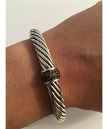 Pre Owned David Yurman 7mm Classic Cable Bracelet with Black Diamonds Si... - $495.00