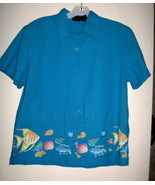 WOMEN'S BLOUSE BY ERIKA, SIZE S, 100 % COTTON TURQUOISE, TROPICAL FISH B... - $9.29