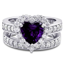 14K White Gold Finish 2Ct Amethyst & Sim Diamond Heart Bridal Ring Set  - $85.00