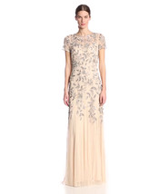 Adrianna Papell Women's Floral Beaded Godet Gown, TP/Pink, 0 - $197.99