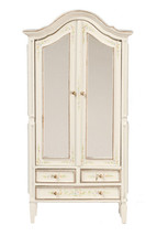 DOLLHOUSE MINIATURE 1:12 SCALE HAND PAINTED WHITE FLORAL WARDROBE #JJ070... - $124.99