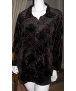 Women's Capacity Plus Size 1X Tunic, Long Sleeves, Velour 2 Way Zip Neck... - $9.29