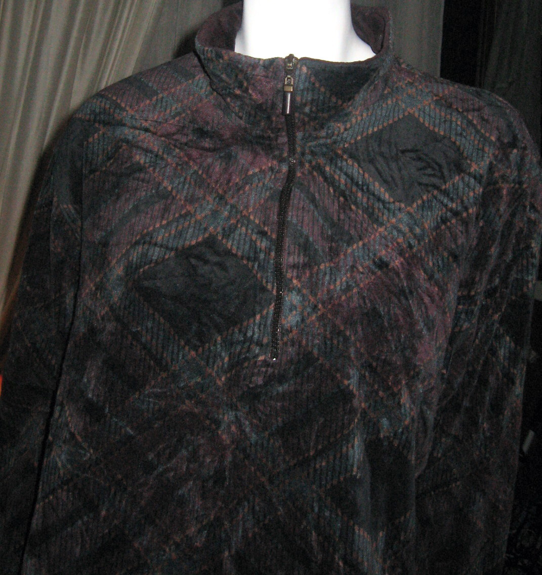 Women's Capacity Plus Size 1X Tunic, Long Sleeves, Velour 2 Way Zip Neckline