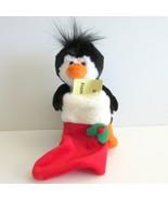 Plush Penguin Christmas Gift Card Holder  Stuffed Toy Red Stocking - $10.33