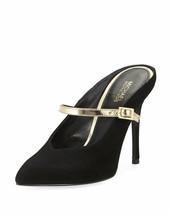 Michael Kors Tiegan Suede Mule with Metallic Mary Jane Strap Heel Shoes,... - $101.90