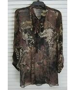 Elie Tahari Sheer Pleated Neck Tie Floral Paisley Printed Silk Shirt sz M - $34.15
