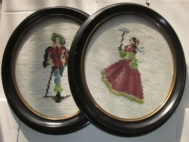 PAIR of ANTIQUE NEEDLEPOINT PETIT POINT GROOVED WOOD FRAME VICTORIAN MAN... - £15.52 GBP