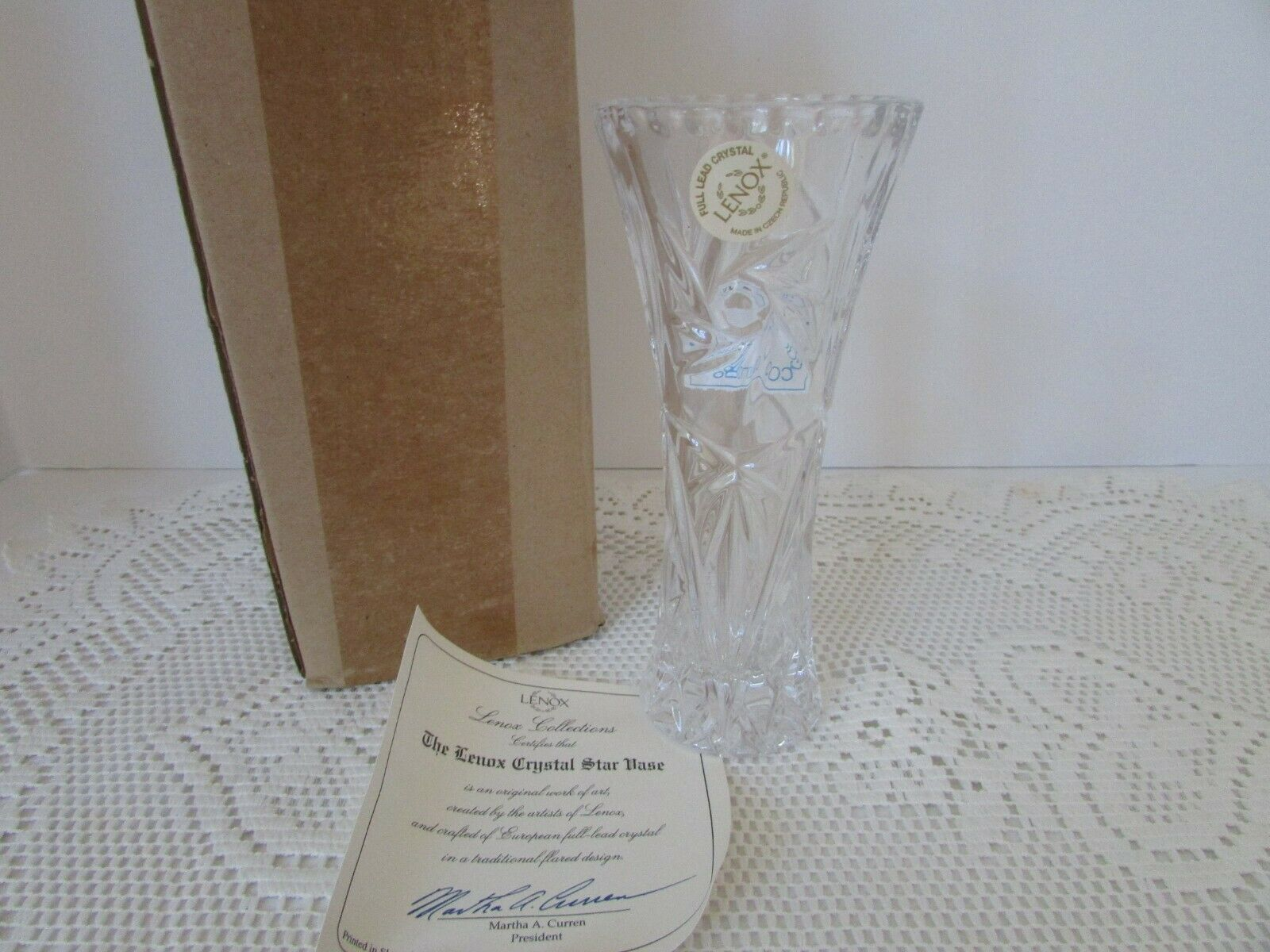 "VTG LENOX CRYSTAL STAR BUD VASE 6"" NEW IN BOX WITH CERTIFICATE"