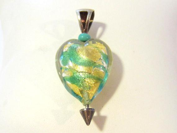 Sterling silver 925 Heart Glass pendant