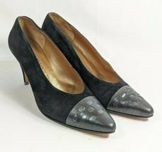 Ellen Tracy Pumps Cap Toe Women's Sz 7 Black Suede Leather Uppers (tu30ep)  - $26.96