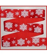 Snowflakes Grosgrain Ribbon Red White Snowflake Christmas Trim 7 Yards 1.5 Wide - $7.00
