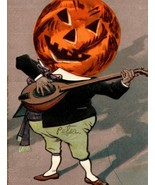 1907 Halloween Anthropomorphic JOL Jack O Lantern Plays Lute String Ins... - £36.35 GBP