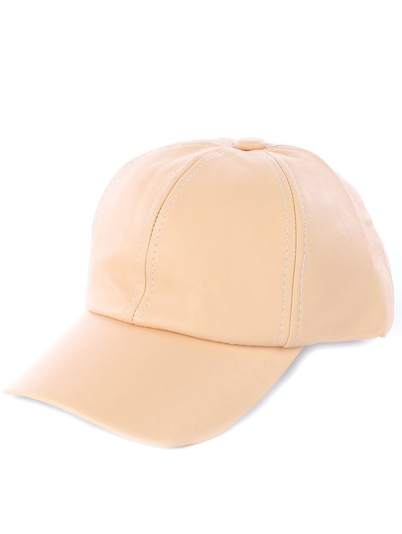 Private Label Solid Colored Baseball Cap Hat - Faux Leather (Natural Beige)