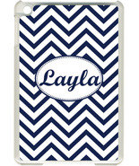 Monogrammed Navy Blue Chevron Design on iPad Mini Frosted Clear Case Cover - $13.06