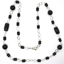 Necklace Silver 925, Onyx Black Tube and round, Length 80 cm, Chain Rhombuses image 2