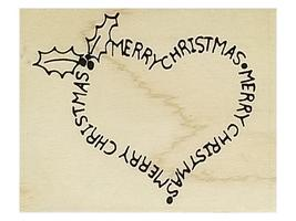 Embossing Arts Merry Christmas Heart Rubber Stamp