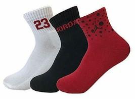 Nike Air Jordan Youth 3PK Quater Socks Shoe 5Y-7Y White/Black/Red XJ0020... - $16.99