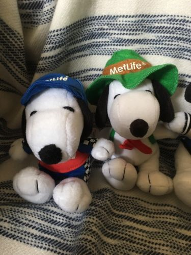 Lot Of 5 Peanuts MetLife Snoopy Plushes *Joe Cool Surfer Baseball NASCAR Camping