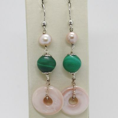 Ohrringe aus Silber 925 Rhodiniert Anhänger Perle Fischen Malachit und Perlmutt