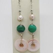 Ohrringe aus Silber 925 Rhodiniert Anhänger Perle Fischen Malachit und Perlmutt image 1
