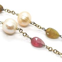 Necklace Silver 925, Yellow, Tourmaline Drop, Pearls round, Chain Rolo ' image 3