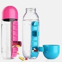 600 ML Water Bottle With Pill Travel Box Organizer Plastic Drinking Trav... - £10.91 GBP