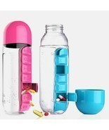 600 ML Water Bottle With Pill Travel Box Organizer Plastic Drinking Trav... - $15.17