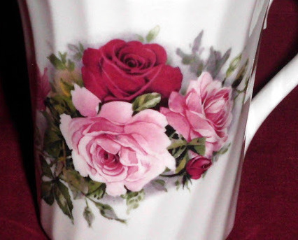 China Royal Stuart Pink Roses Mug Swirl Design Collector Set of Two
