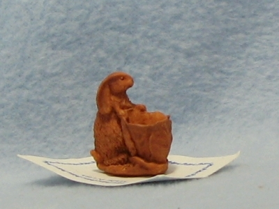 Dollhouse Rabbit Basket Bonnie Franklin Terra Cotta Figurine Easter 1:12 NRFB