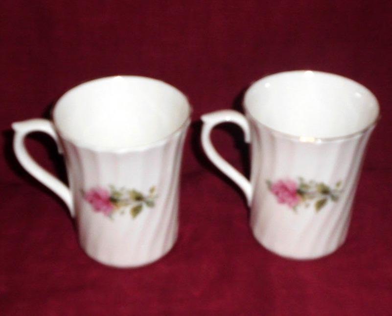 China Royal Stuart Pink Roses Mug Swirl Design Collector Set of Two