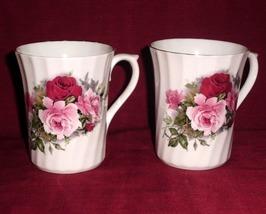 China Royal Stuart Pink Roses Mug Swirl Design Collector Set of Two - $35.00