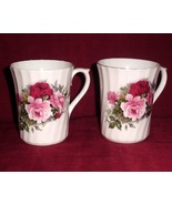China Royal Stuart Pink Roses Mug Swirl Design Collector Set of Two - $35.00