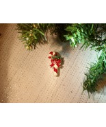 Cookie Lee Candy Cane and Holly Brooch - Item #27151 - New! - $7.00
