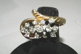 VTG Gold Tone White Cubic Zirconia Rhinestone Cornucopia Horn Ring Unusu... - $9.90