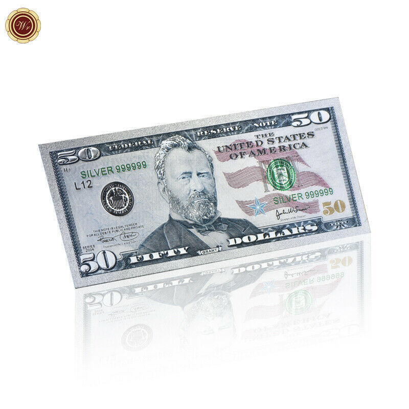 WR US New $50 Dollar Colored Silver Foil Banknote Paper Money Bill Collection