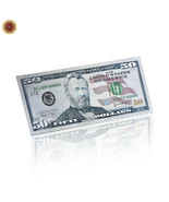 WR US New $50 Dollar Colored Silver Foil Banknote Paper Money Bill Colle... - $2.66