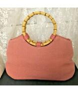 Amanda Smith Women's Handbag Pink Woven with Bamboo Handles - $23.47