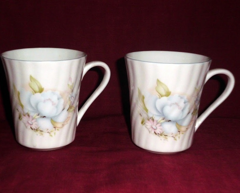 Vintage Birks Bone China England Floral Rose Blue White Swirl Mug Set 2