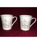 Birks Bone China England Floral Rose Blue White Swirl Mug Set 2 - $35.00