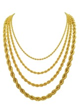 1mm 2mm 3mm 4mm 5mm 7mm Gold Rope Chain,made in USA,30x thicker gold, - $102.86