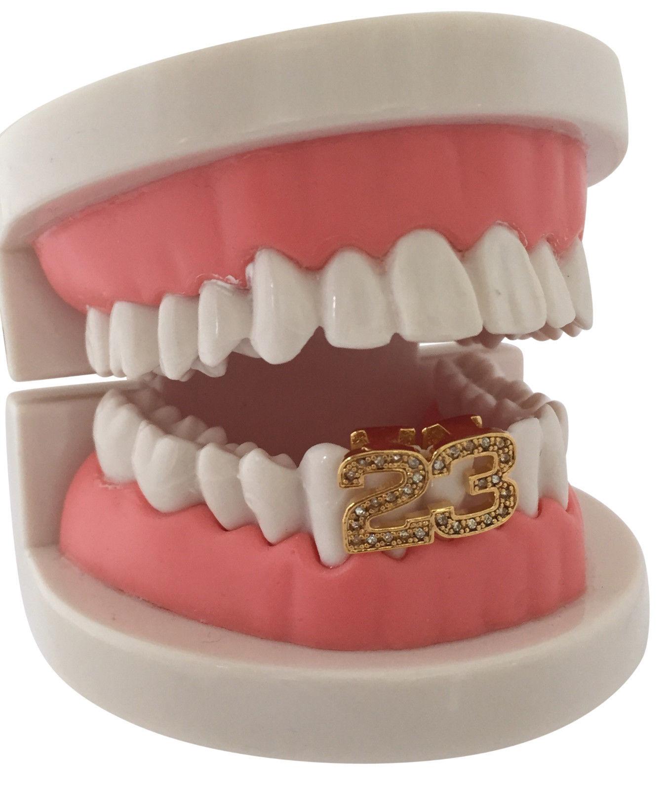 Hip Hop 14K Gold GP #23 23 Air Jordan Two Tooth Teeth Grillz Grill Lower Cap
