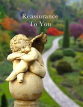 Reassurance: Sympathy Card With Cherub Statue And Garden - $5.00