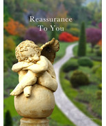 Reassurance: Sympathy Card With Cherub Statue And Garden - $4.25