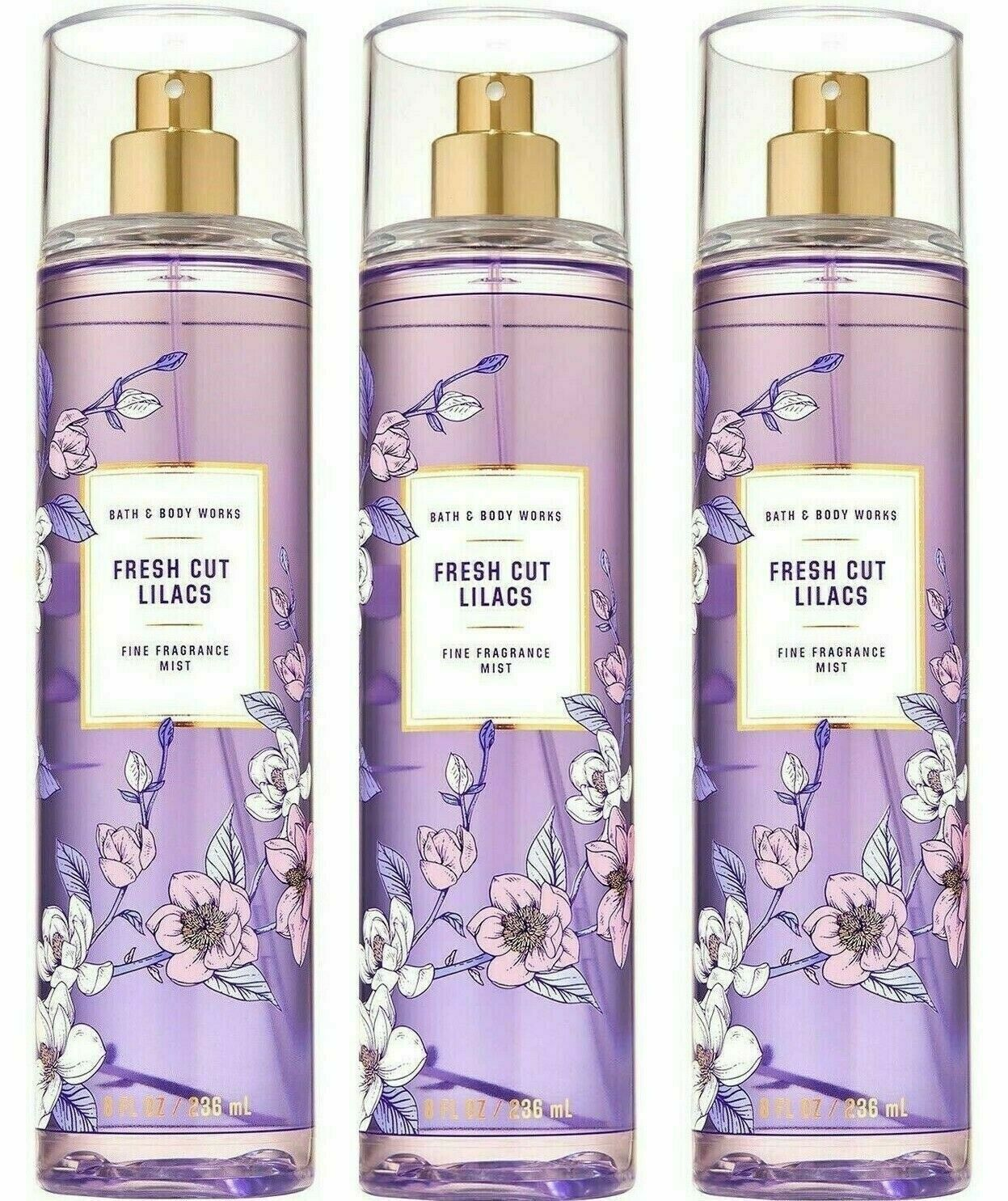Primary image for 3-Pack Bath Body Works FRESH CUT LILACS Fine Fragrance Mist Spray 8 fl.oz