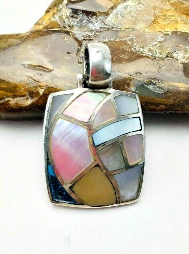 Primary image for Vintage 925 CFJ Sterling Silver Mother Of Pearl Mosaic Inlay Pendant