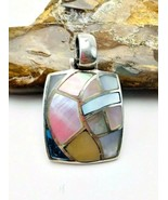 Vintage 925 CFJ Sterling Silver Mother Of Pearl Mosaic Inlay Pendant - $49.49