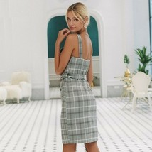 Women Plaid Strap Dress High Waist Split Sash Double Breasted Casual Outfits - $41.79