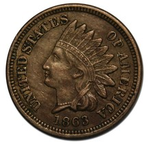 1863 One Cent Indian Head Penny Coin Lot# A 2183