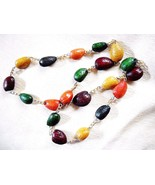 1950s-60s MULTI-COLOR PLASTIC CAST ALMOND SHELL & GOLD TONE CHAIN-LINK N... - $12.00