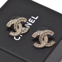 AUTHENTIC CHANEL XL LARGE CRYSTAL CC LOGO STUD GOLD EARRINGS  image 2